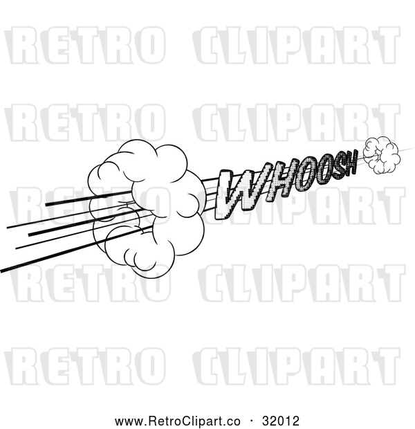 Vector Clip Art of a Super Sonic Fast Retro Pop Art Comic Styled Whoosh Speed Sound Effect in Black and White