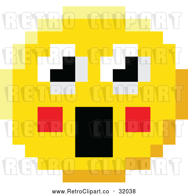 Vector Clip Art of a Surprised Retro 8-Bit Emoji Smiley Face Froze with Shocking Expression