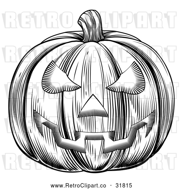 Vector Clip Art of a Traditionally Carved Retro Halloween Jackolantern Pumpkin - Black and White Version
