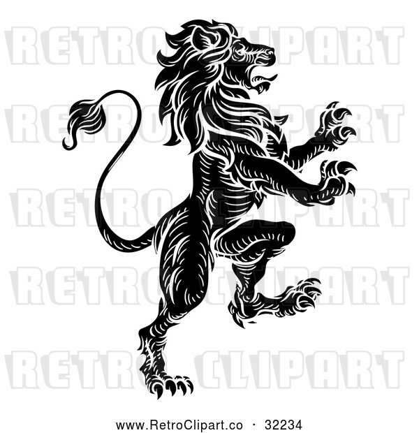 Vector Clip Art of a Vicious Black Retro Heraldic Lion Rearing up with Aggressive Intentions
