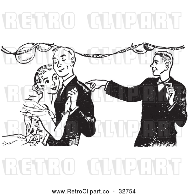 Vector Clip Art of a Young Retro Man Pointing at Happy Dancing Couple