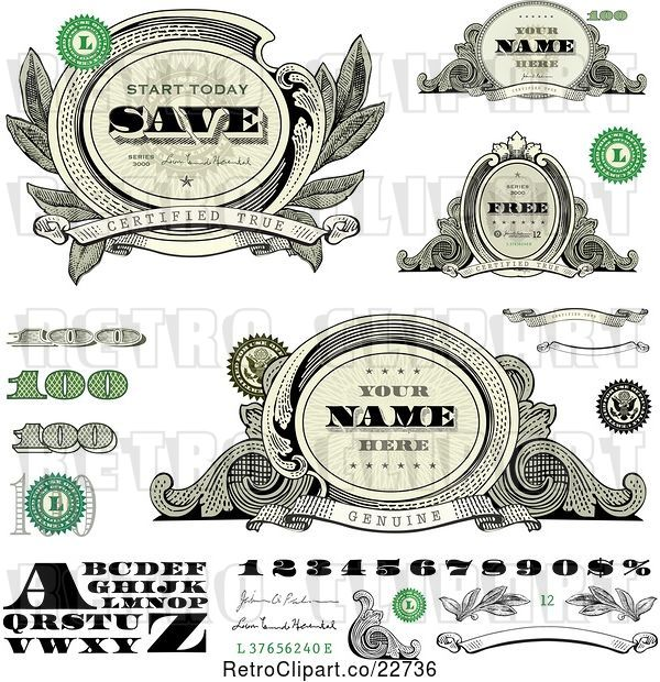 Vector Clip Art of Alphabet, Number, and Money Design Elements