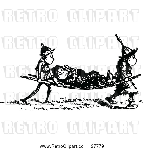 Vector Clip Art of an Injured Retro Boy Being Carried on a Stretcher