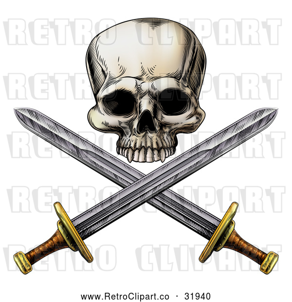 Vector Clip Art of an Intimidating Retro Pirate Skull and Cross Swords