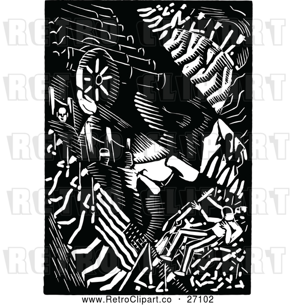 Vector Clip Art of an Old Retro Abstract Abraham Lincoln Portrait