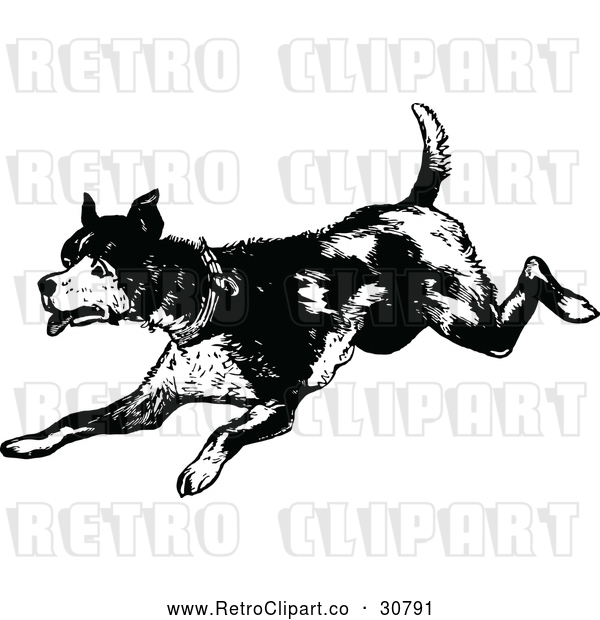 : Vector Clip Art of an Old Retro Dog Running Playfully in Black and White