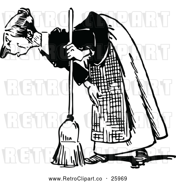 Vector Clip Art of an Old Retro Maid Bending over with a Broom