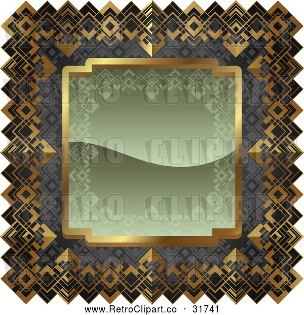 Vector Clip Art of an Ornate Olive Green, Gray and Gold Frame