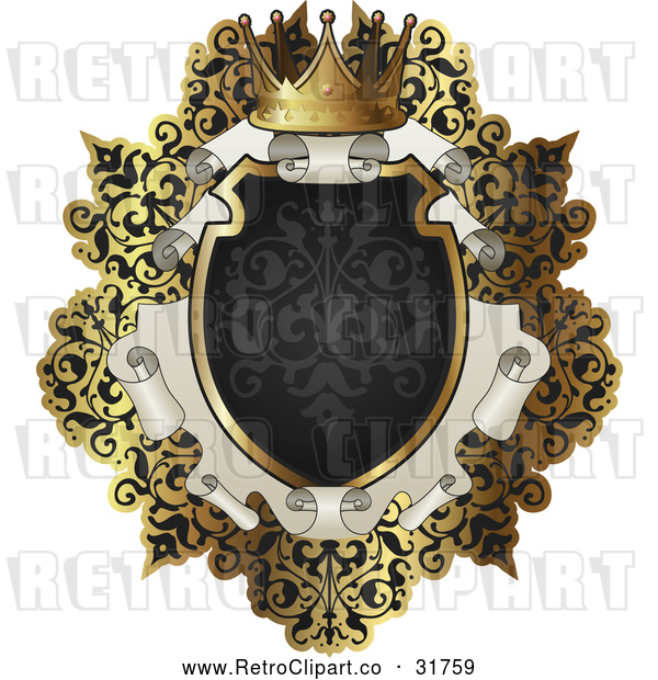 Vector Clip Art of an Ornate Retro Black and Gold Scroll Frame