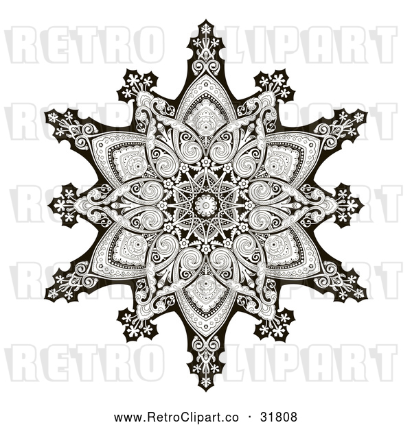Vector Clip Art of an Ornate Retro Black and White Arabic Middle Eastern Floral Motif Snowflake Pattern