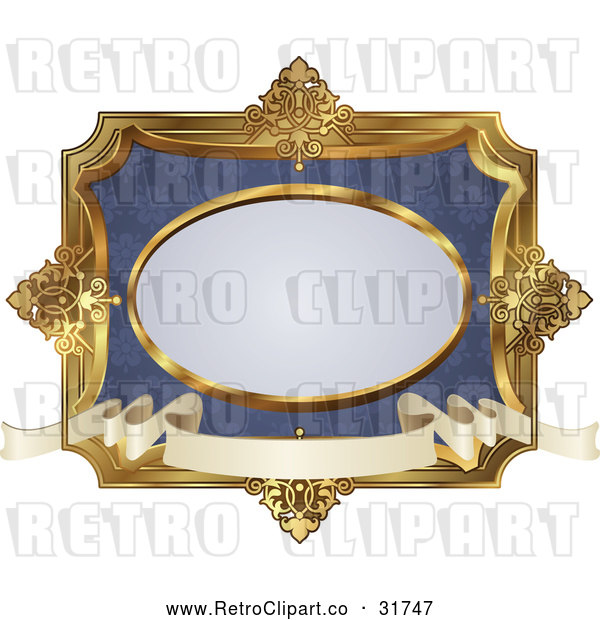 : Vector Clip Art of an Ornate Retro Blue and Gold Frame
