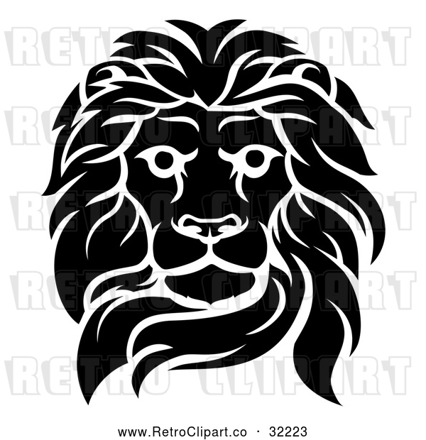 Vector Clip Art of an Unforgiving Retro Black Male Lion Fiercely Fixated with Deadly Intentions Death Stare
