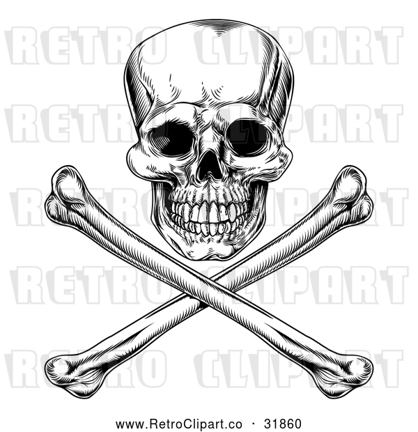Vector Clip Art of an Unforgiving Retro Jolly Roger Skull Above Crossbones in Black and White