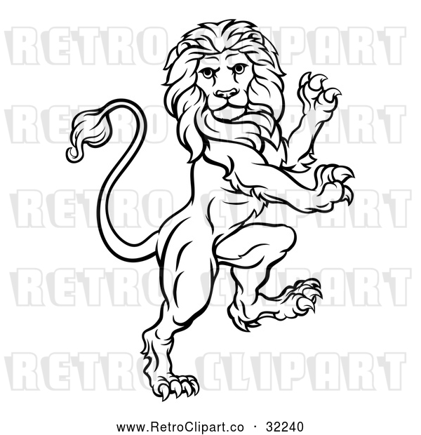 : Vector Clip Art of an Unstoppable Retro Rampant Lion in Black Lineart