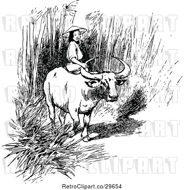 Vector Clip Art of Asian Girl Riding an Ox