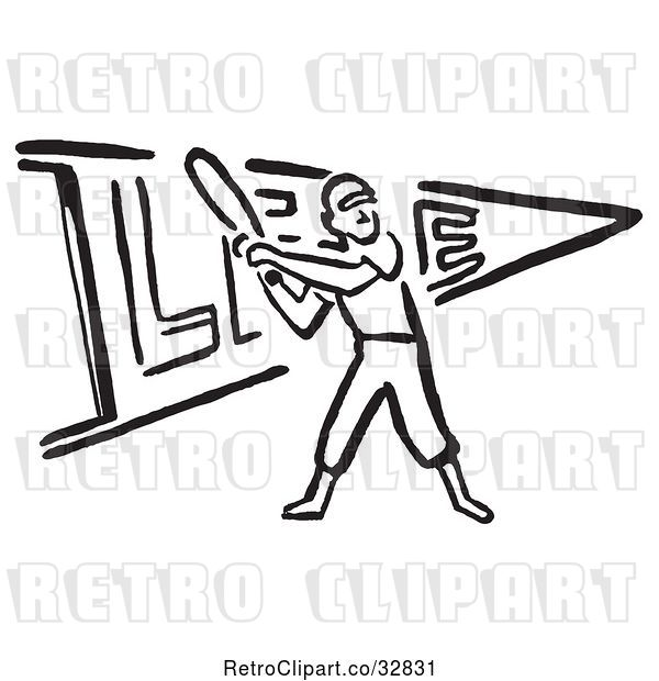 Vector Clip Art of Baseball Player Batting over a Pennant Flag