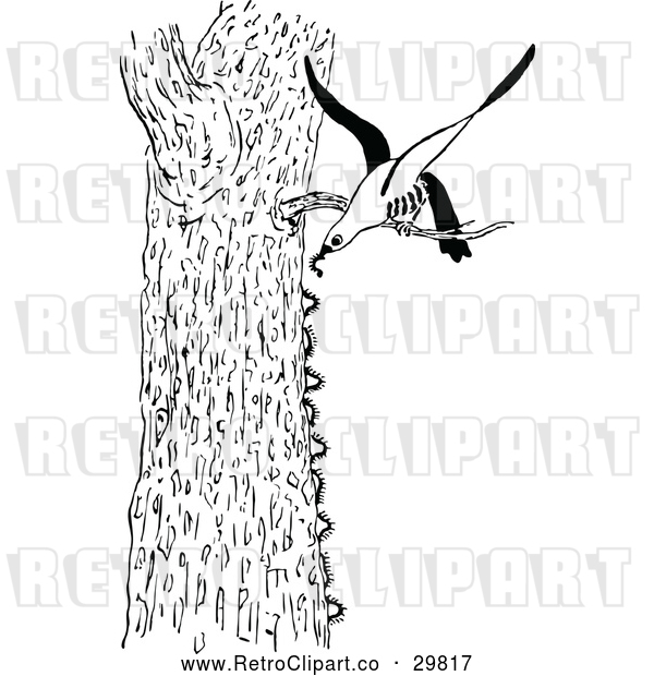 Vector Clip Art of Bird Eating Caterpillars from Tree