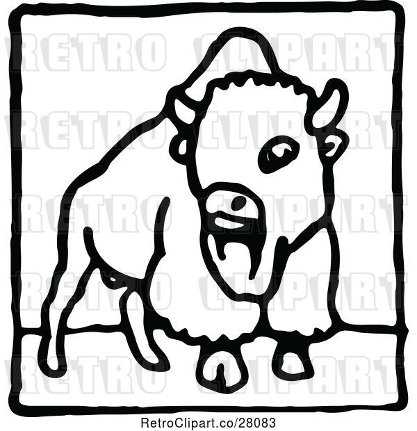 Vector Clip Art of Bison Icon