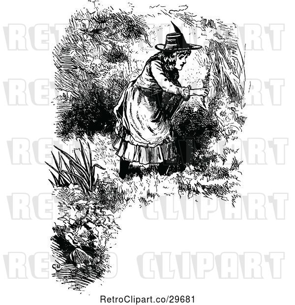 Vector Clip Art of Border of Girl Picking Flowers