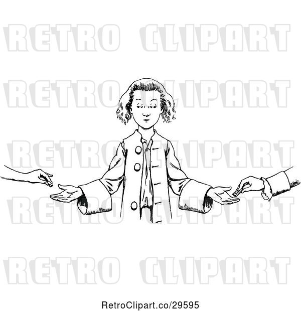 Vector Clip Art of Boy Accepting Money