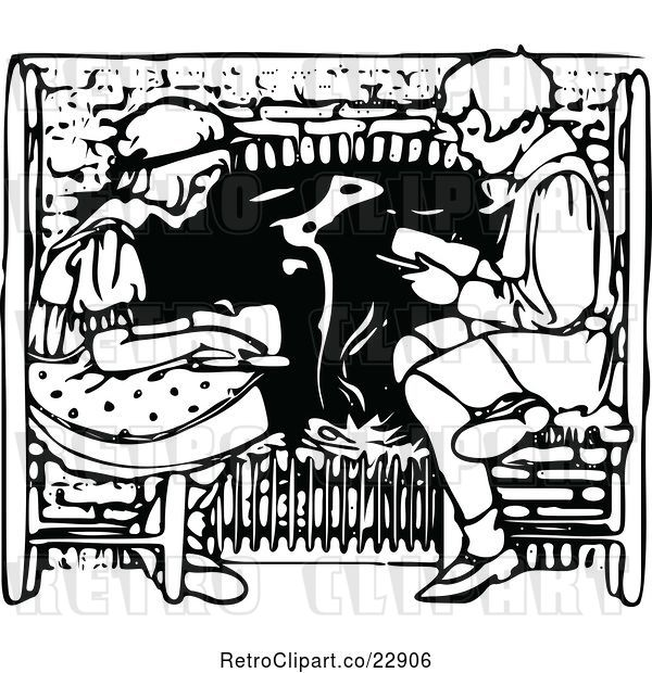 Vector Clip Art of Boy and Girl Reading by a Fireplace
