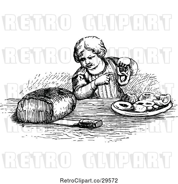 Vector Clip Art of Boy with Bread Pastries and a Pretzel