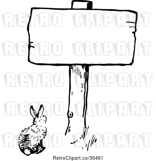 Vector Clip Art of Bunny Under a Sign