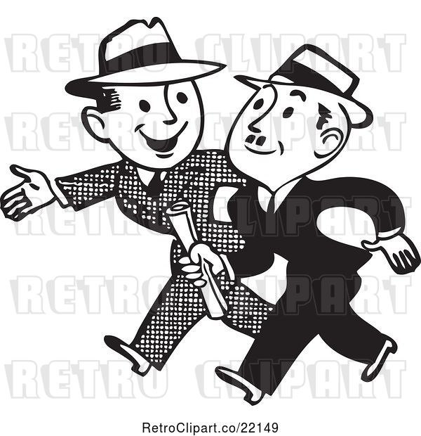 Vector Clip Art of Business Men Talking and Walking