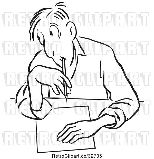 Vector Clip Art of Cartoon Guy Glancing to Cheat on a Test