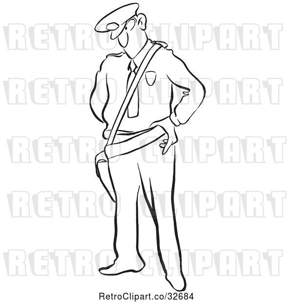 Vector Clip Art of Cartoon Police Guy Looking Stern