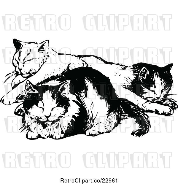 Vector Clip Art of Cats Napping