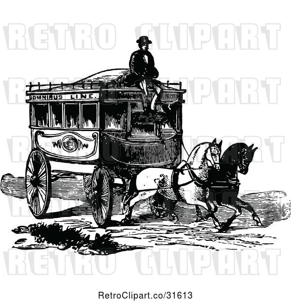Vector Clip Art of Coachman and Horse Drawn Omnibus Wagon