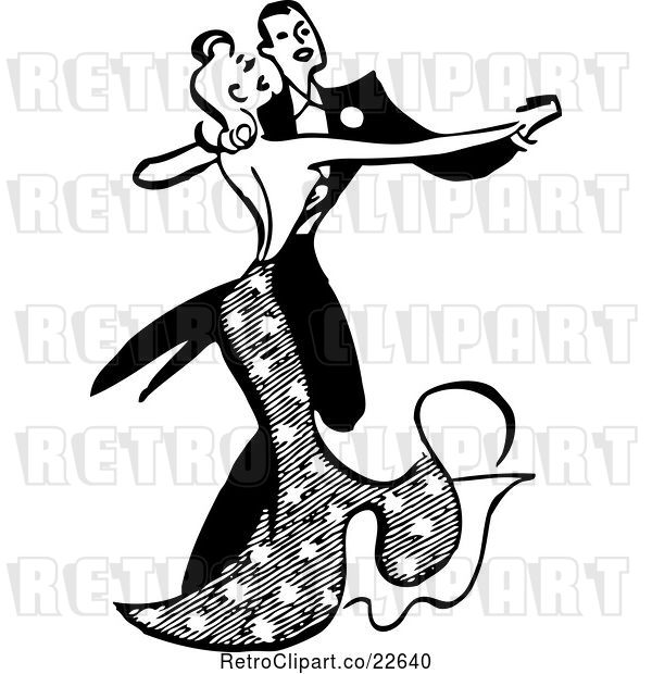 Vector Clip Art of Couple Ballroom Dancing