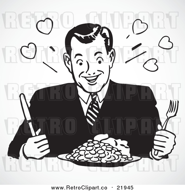Vector Clip Art of Dinnertime Plate Retro Man