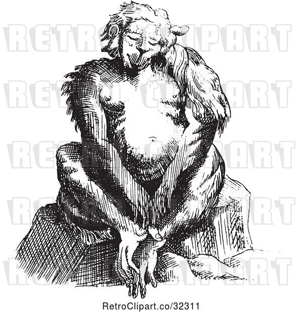 Vector Clip Art of Fantasy Ape Creature Sitting