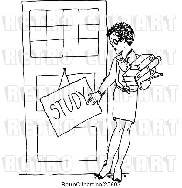 Vector Clip Art of Female Teacher with a Study Sign