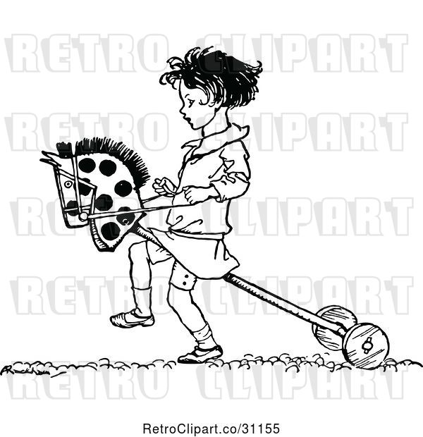 Vector Clip Art of Girl Playing with a Hobby Horse