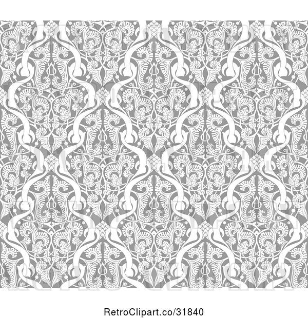 Vector Clip Art of Grayscale Seamless Islamic Motif Pattern 2