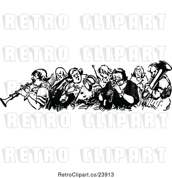 Vector Clip Art of Group of Musicians