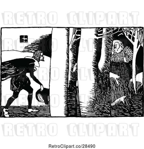 Vector Clip Art of Guy and Lady in the Woods