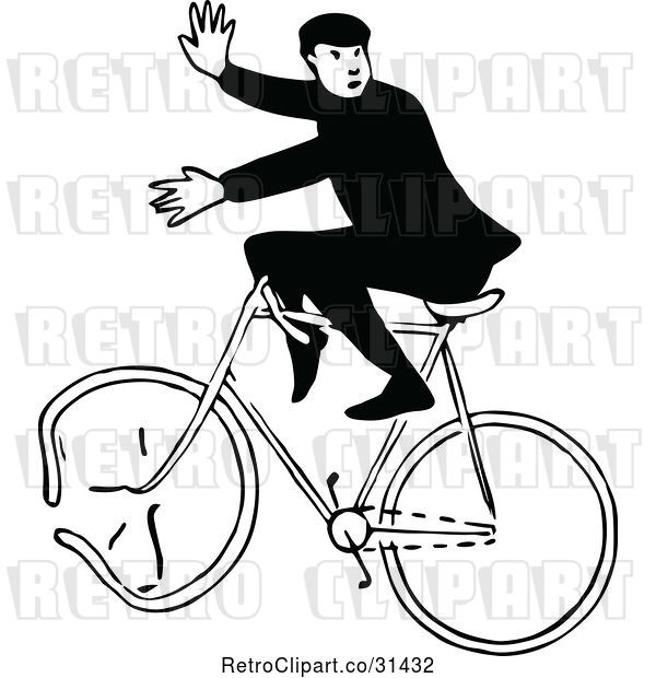 Vector Clip Art of Guy on a Broken Bicycle