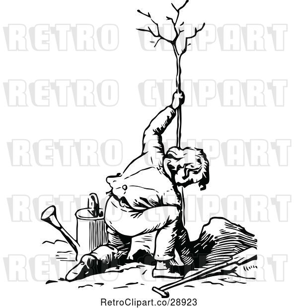 Vector Clip Art of Guy Planting a Tree