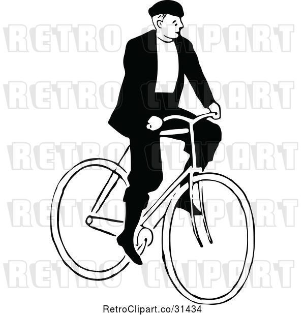 Vector Clip Art of Guy Riding a Bicycle 1