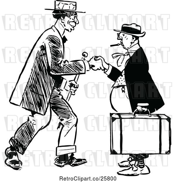Vector Clip Art of Handshake Between Men