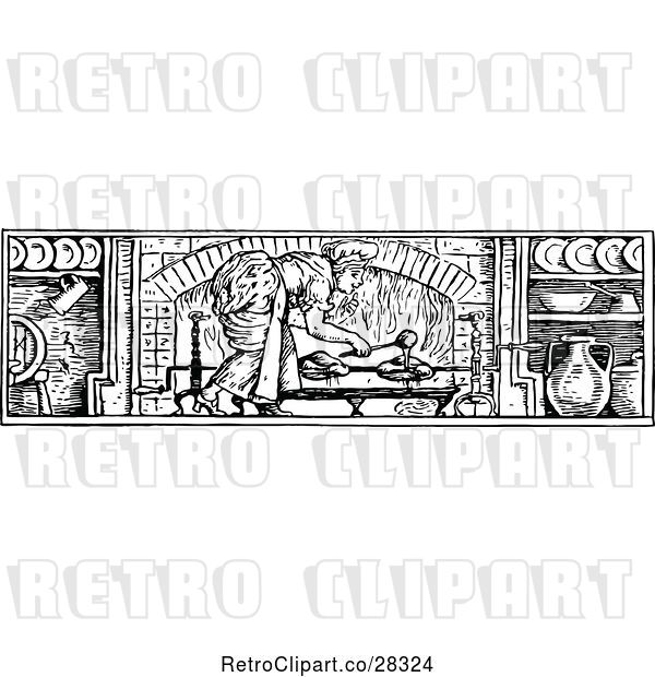 Vector Clip Art of Lady Basting Meat in a Fireplace
