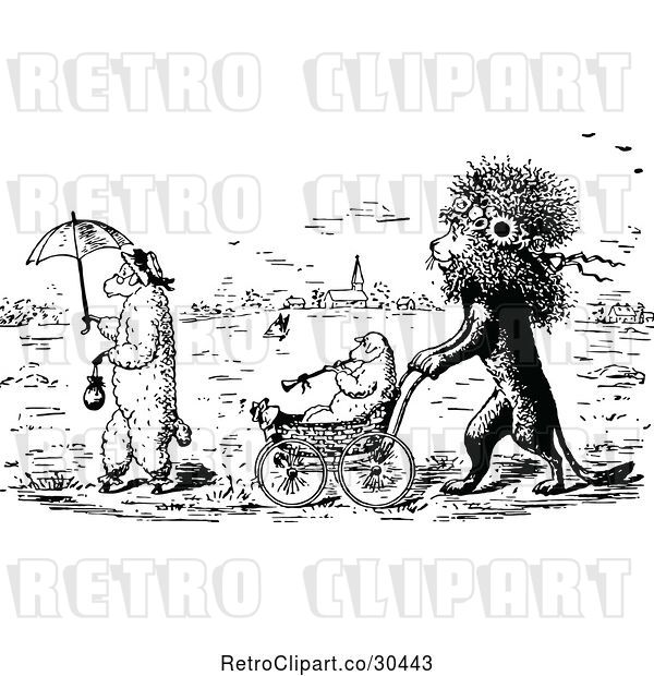 Vector Clip Art of Lion Pushing a Lamb in a Stroller