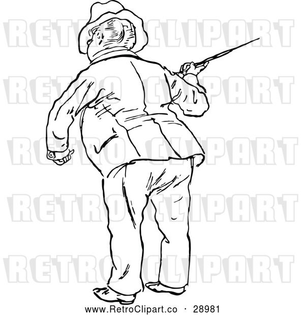 Vector Clip Art of Man with a Cane 2