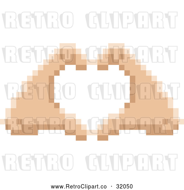 Vector Clip Art of Pixelized Retro 8-Bit Hands Forming a Human Love Heart Shape