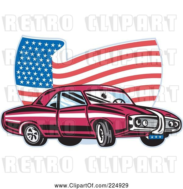 Vector Clip Art of Pontiac Car and Wavy American Flag Logo
