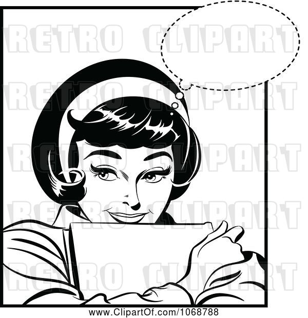 Vector Clip Art of Pop Art Lady Hugging with a Book Black and White